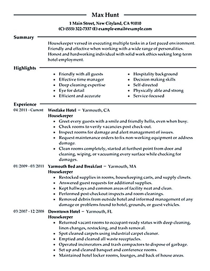 housekeeper resume should able to contain and highlight important aspects that help you Resume Housekeeping Resume Objective