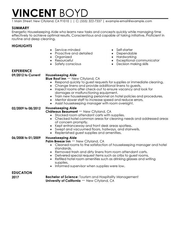 housekeeping aide resume examples created by pros myperfectresume samples for hospitality Resume Resume Samples For Hospitality And Tourism