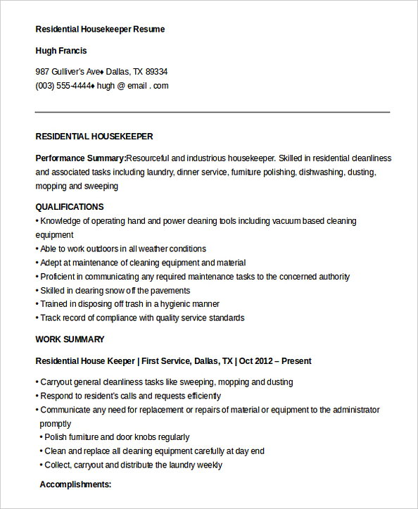 housekeeping manager resume executive housekeeper job description free residential Resume Executive Housekeeper Job Description Resume