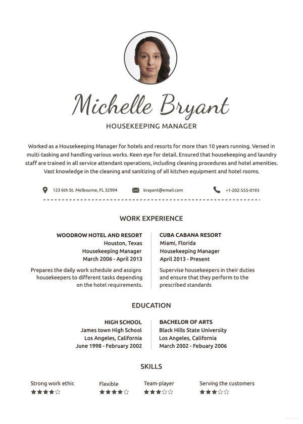 housekeeping resume example free word pdf documents premium templates executive Resume Executive Housekeeper Job Description Resume