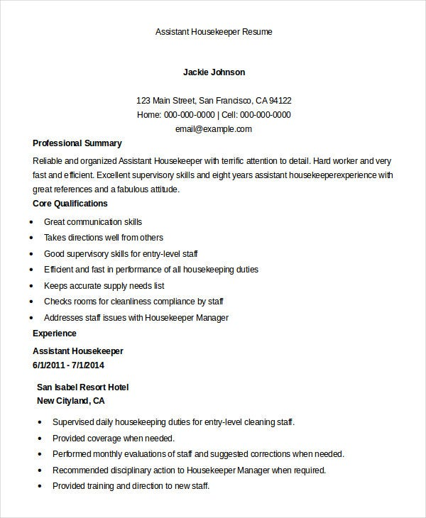 housekeeping resume example free word pdf documents premium templates hotel assistant Resume Hotel Housekeeping Resume