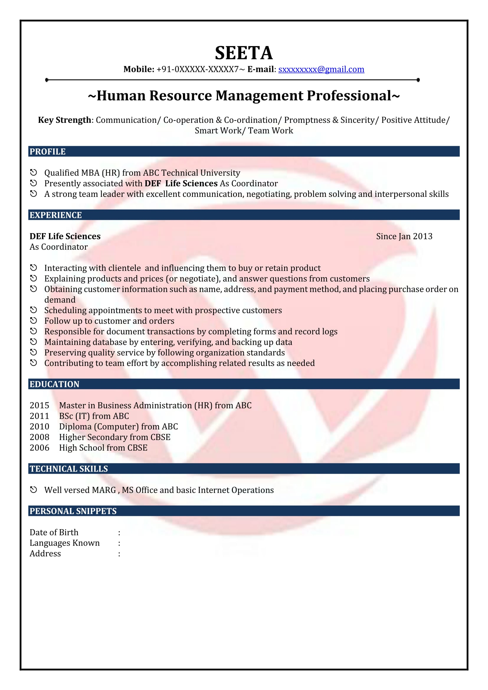 hr fresher sample resumes resume format templates management for elementary teachers with Resume Management Fresher Resume