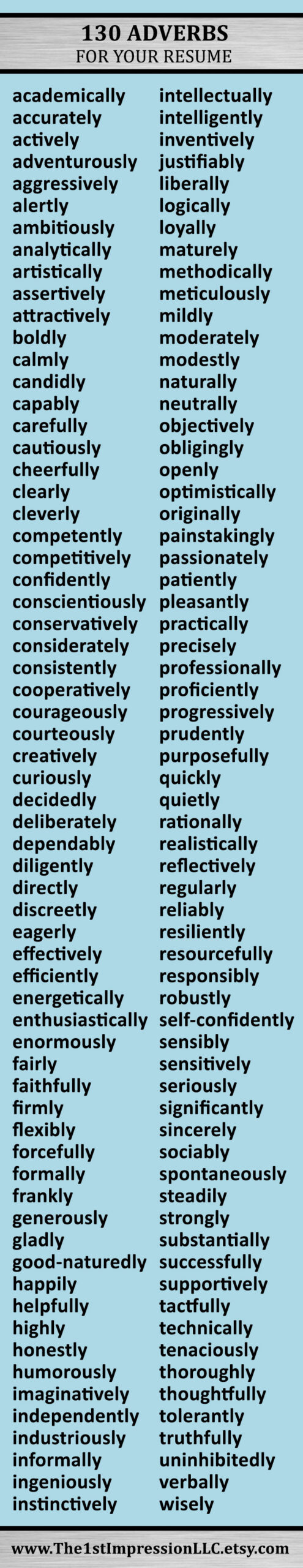 huge of adverbs to help you write your resume job search tips business writing adjectives Resume Resume Adjectives And Adverbs