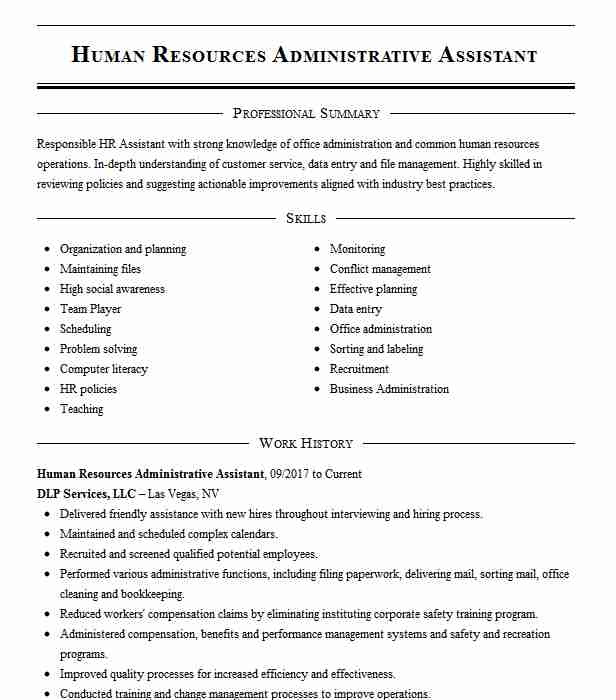 human resources administrative assistant resume example livecareer template free Resume Human Resources Assistant Resume Template