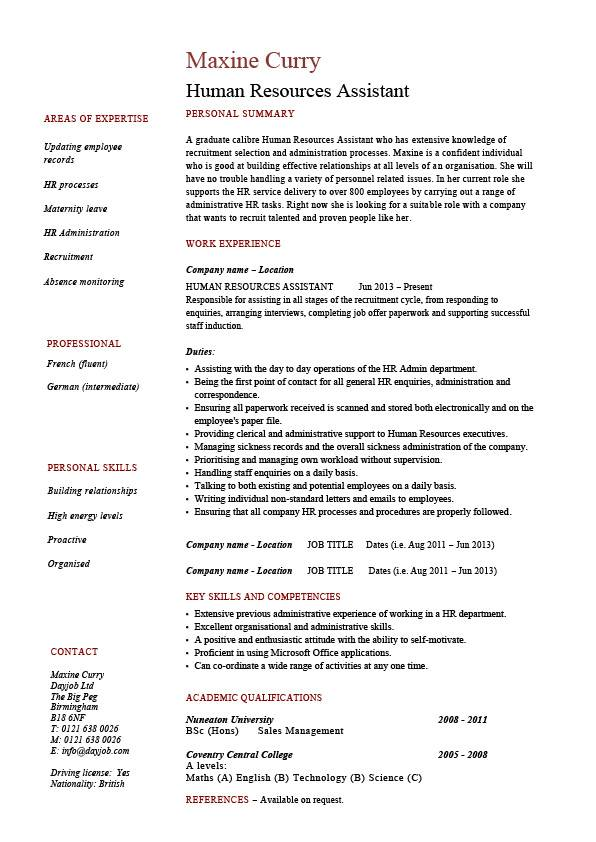 human resources assistant resume hr example sample employment work duties cover letter Resume Human Resources Assistant Resume Template