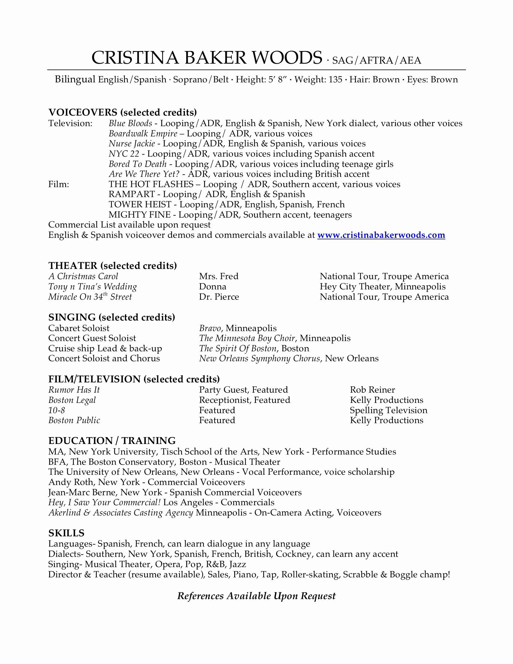 human voiced resume example best of voice sample job examples acting industrial Resume Human Voiced Resume Example
