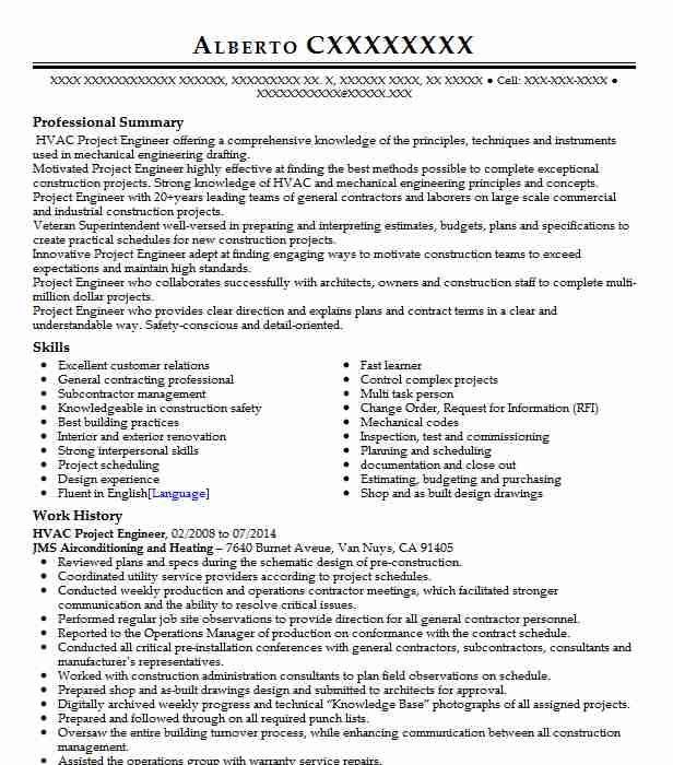 hvac project engineer resume example engineering resumes livecareer for extracurricular Resume Hvac Engineer Resume For Gulf