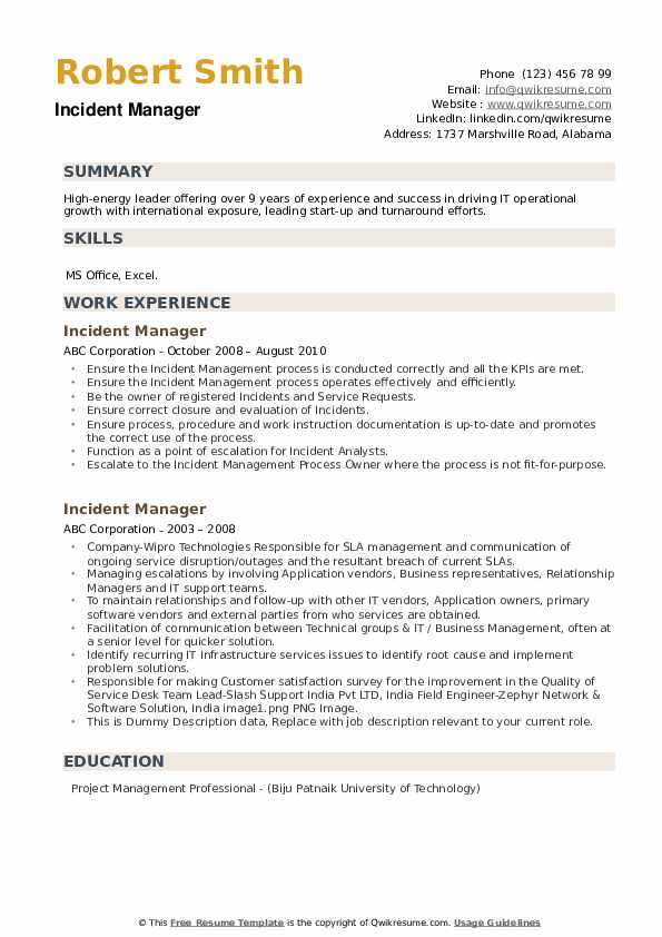 incident manager resume samples qwikresume pdf college projects on example objective for Resume Incident Manager Resume