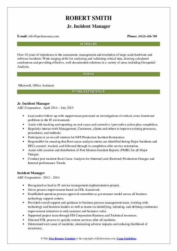 incident manager resume samples qwikresume pdf human resources executive college projects Resume Incident Manager Resume
