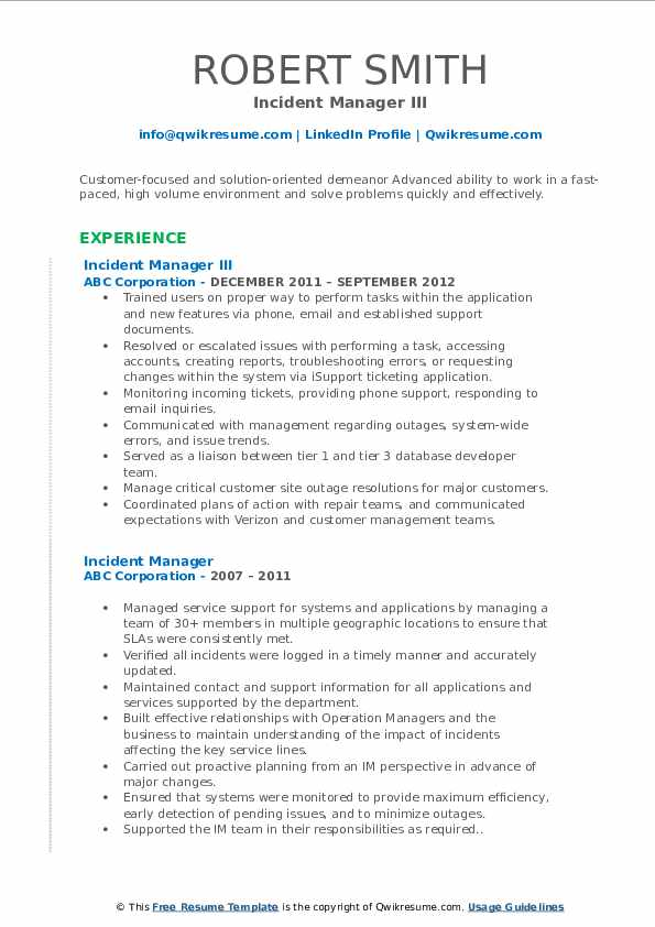 incident manager resume samples qwikresume pdf human resources executive complete Resume Incident Manager Resume
