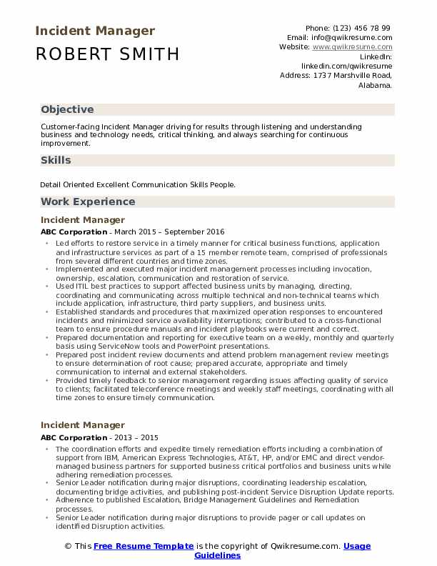 incident manager resume samples qwikresume pdf qr code on building exercises Resume Incident Manager Resume