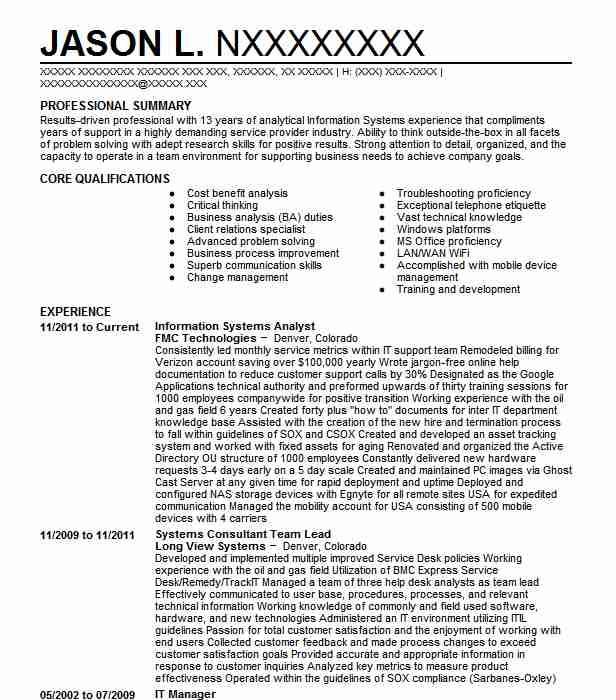 information systems analyst resume example livecareer optimal everest institute sample Resume Information Systems Resume