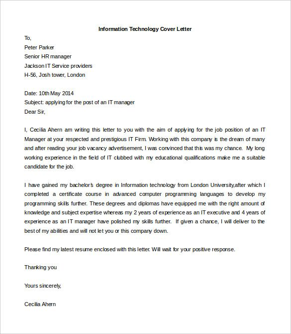 information technology cover letter template free word resume job sample for chiropractic Resume Download Sample Cover Letter For Resume
