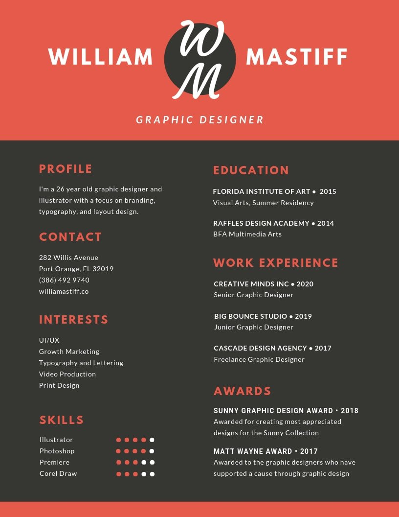 inspiring resume designs to learn from canva graphic design creative red grey modern Resume Graphic Design Resume Creative
