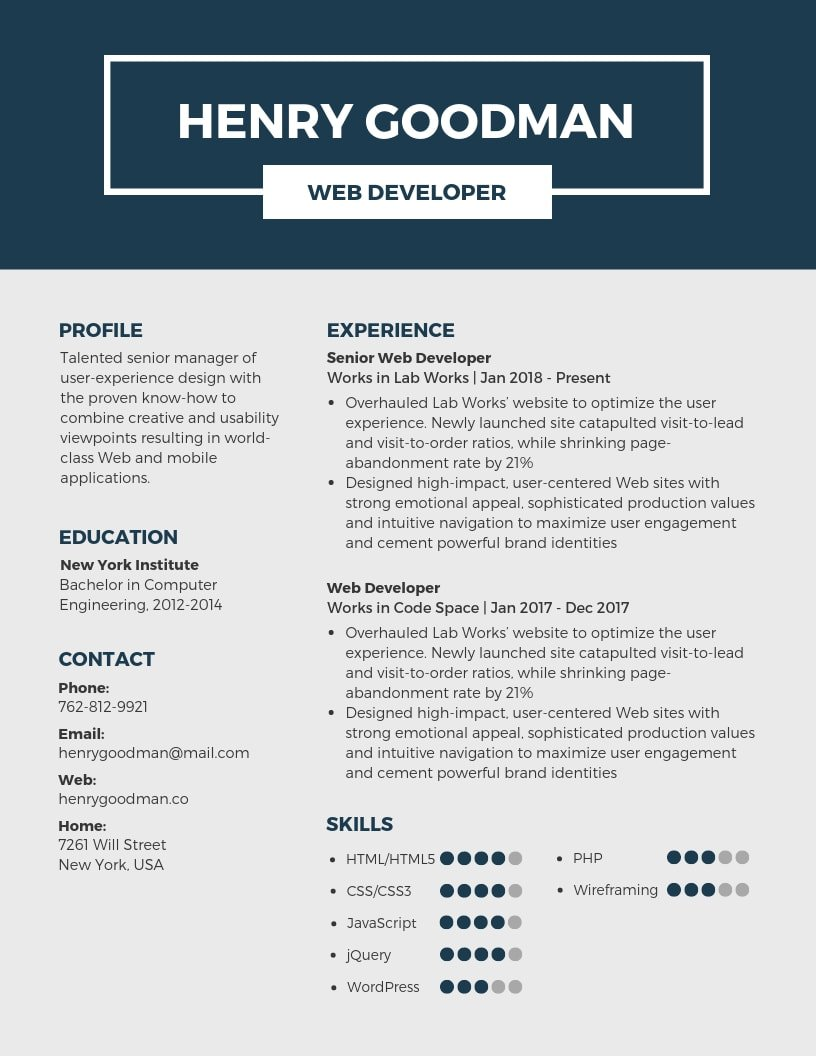 inspiring resume designs to learn from canva high impact statements dark blue Resume High Impact Resume Statements