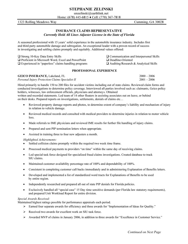 insurance agent resume skills format for industry objective sample claims representative Resume Resume Format For Insurance Industry