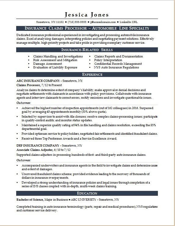 insurance claims processor resume sample monster format for industry technical project Resume Resume Format For Insurance Industry