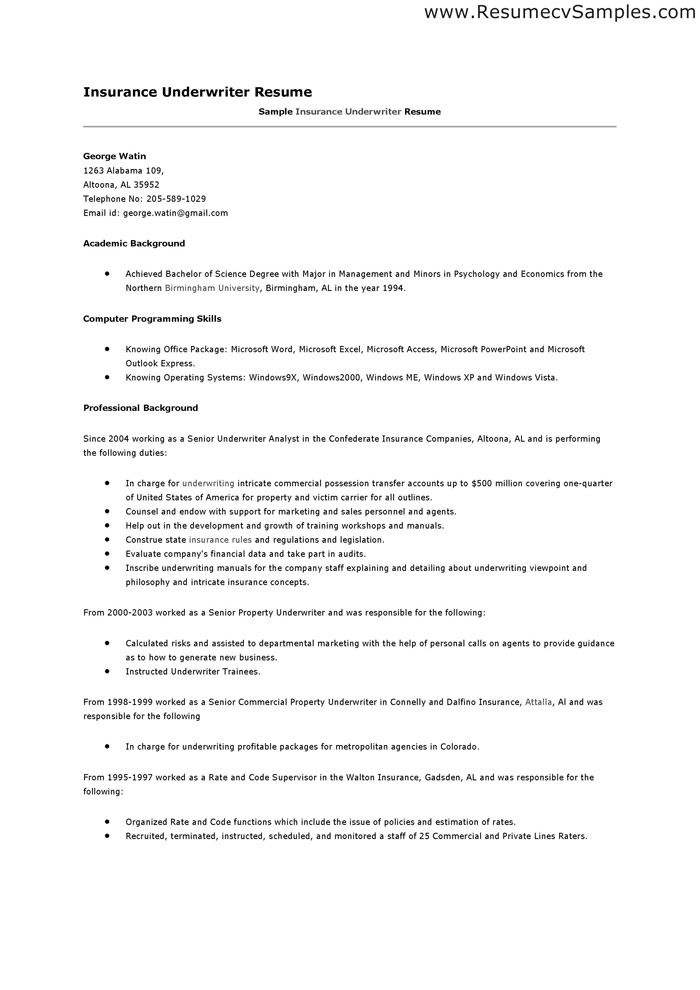 insurance underwriter cover letter commercial resume examples writing services jennifer Resume Commercial Underwriter Resume Examples