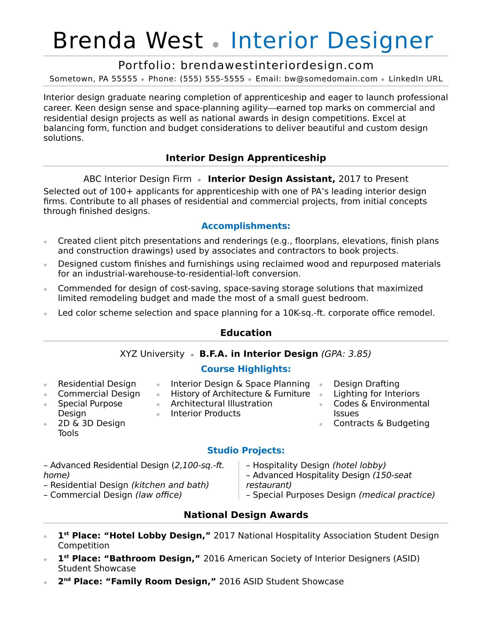 interior design resume sample monster honors and awards examples designer for warehouse Resume Honors And Awards Resume Examples