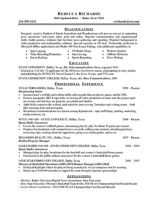 intern resume example radio broadcasting intern2 sample cover letter for professional Resume Radio Broadcasting Resume