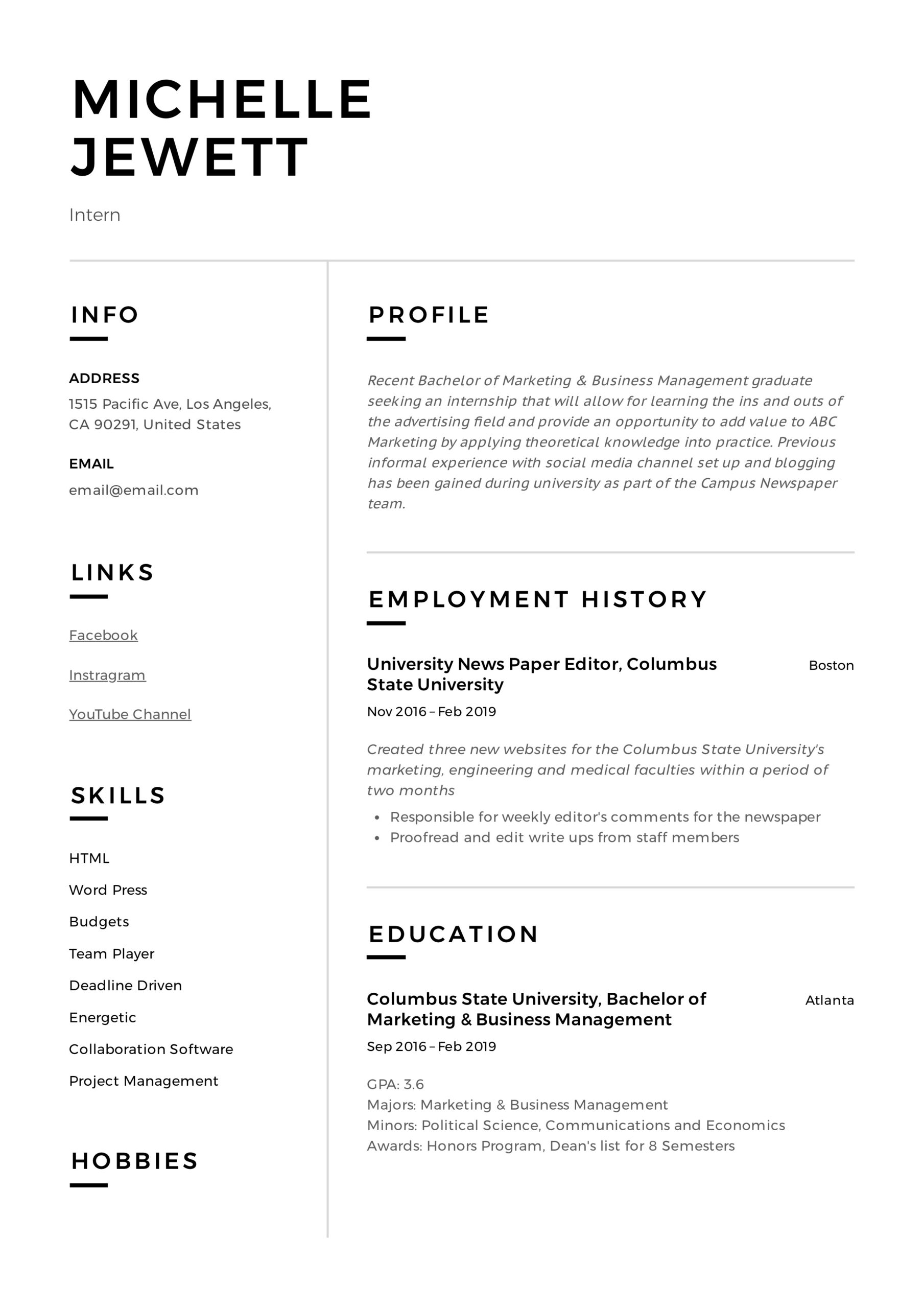 intern resume writing guide samples pdf internship examples example dental front office Resume Internship Resume Examples