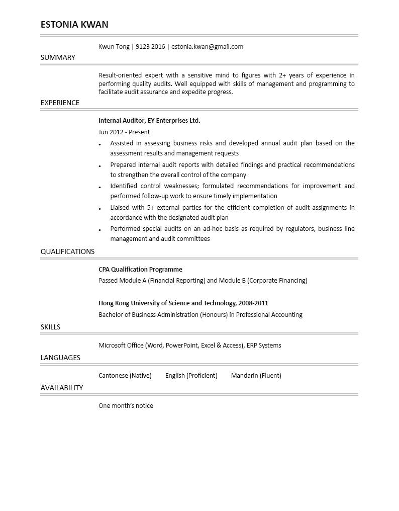 internal auditor cv ctgoodjobs powered by career times director of audit resume for Resume Director Of Internal Audit Resume