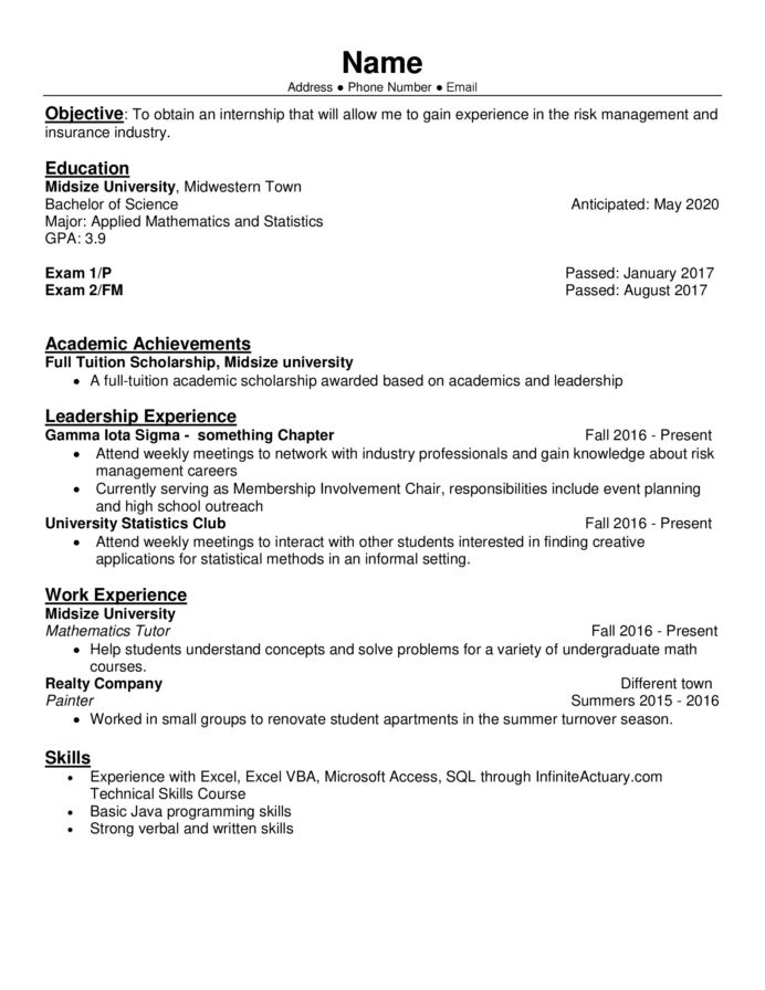 internship resume for comment actuary objective 114bo6xdf3iz general labor examples Resume Internship Resume Objective