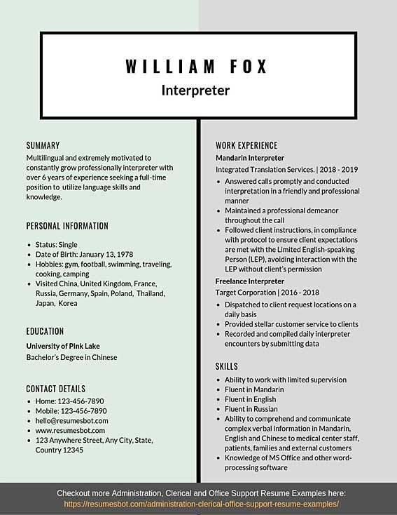 interpreter resume samples templates pdf resumes bot skills and abilities for examples Resume Skills And Abilities For A Resume Examples