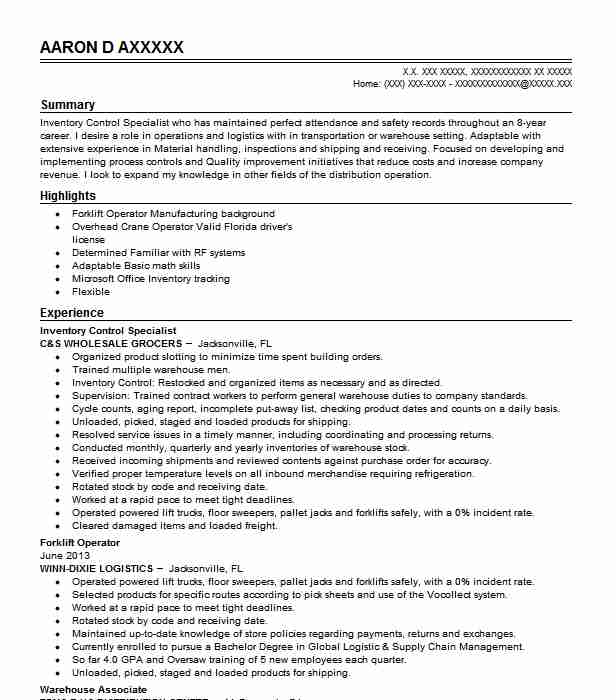 inventory control specialist resume example livecareer management college application Resume Inventory Management Specialist Resume