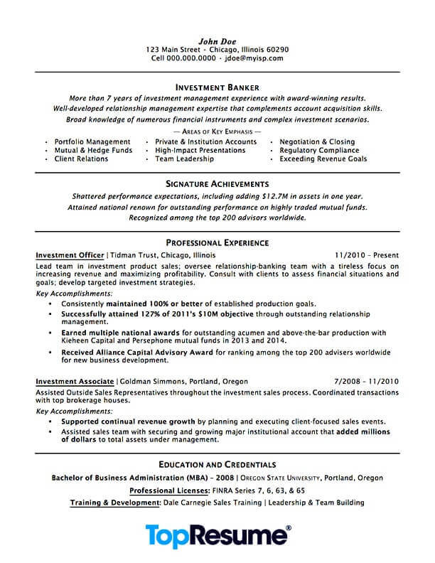 investment banking resume sample professional examples topresume template skills for Resume Investment Banking Resume Template