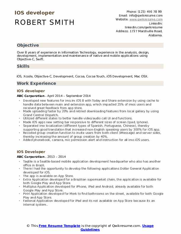 ios developer resume samples qwikresume make on iphone pdf for mba admission starbucks Resume Make A Resume On Iphone