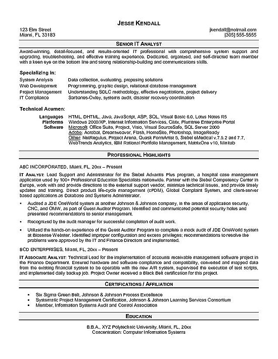 it analyst resume example examples technician sample outline objective for veterinary Resume Analyst Resume Examples