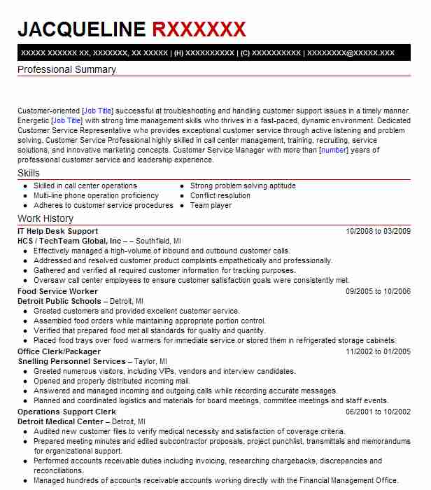 it help desk support resume example resumes livecareer summary good descriptive words for Resume Help Desk Resume Summary