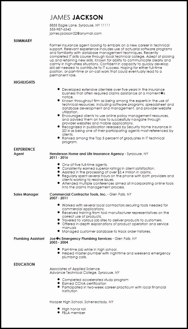 it support technician resume beautiful free entry level technical specialist examples Resume Second Job Resume Examples