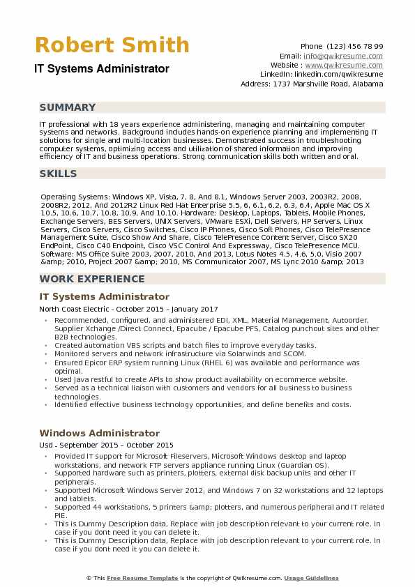 it systems administrator resume samples qwikresume system sample pdf career consulting Resume System Administrator Resume Sample