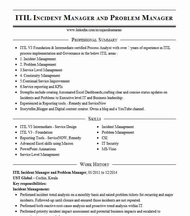 itil coordinator incident manager resume example ge digital genpact summary examples for Resume Incident Manager Resume