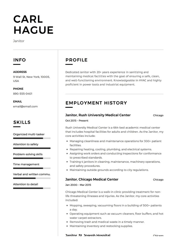 janitor resume sample job description duties skills tips janitorial example first summary Resume Cruise Ship Objective Resume
