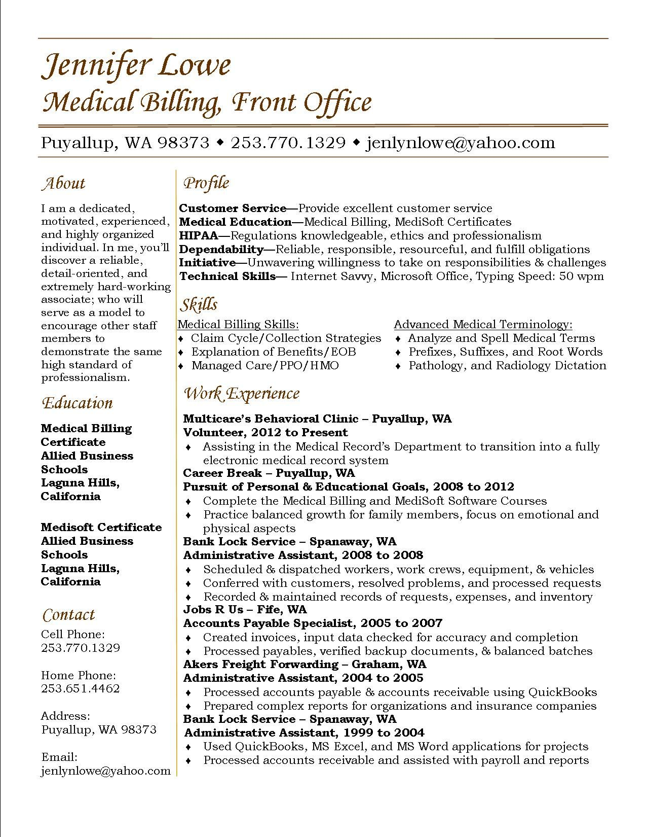 jennifer lowe resume medical billing and coding assistant format for job apply with Resume Resume Format For Medical Coding Job