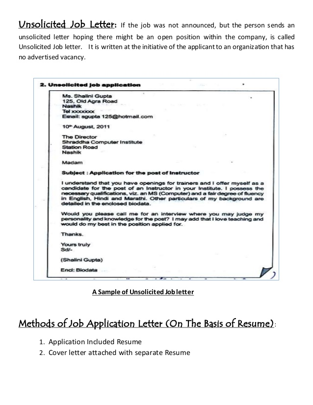 job letter resume writing solicitedn sample is example definition debbycarreau Resume Unsolicited Resume Sample