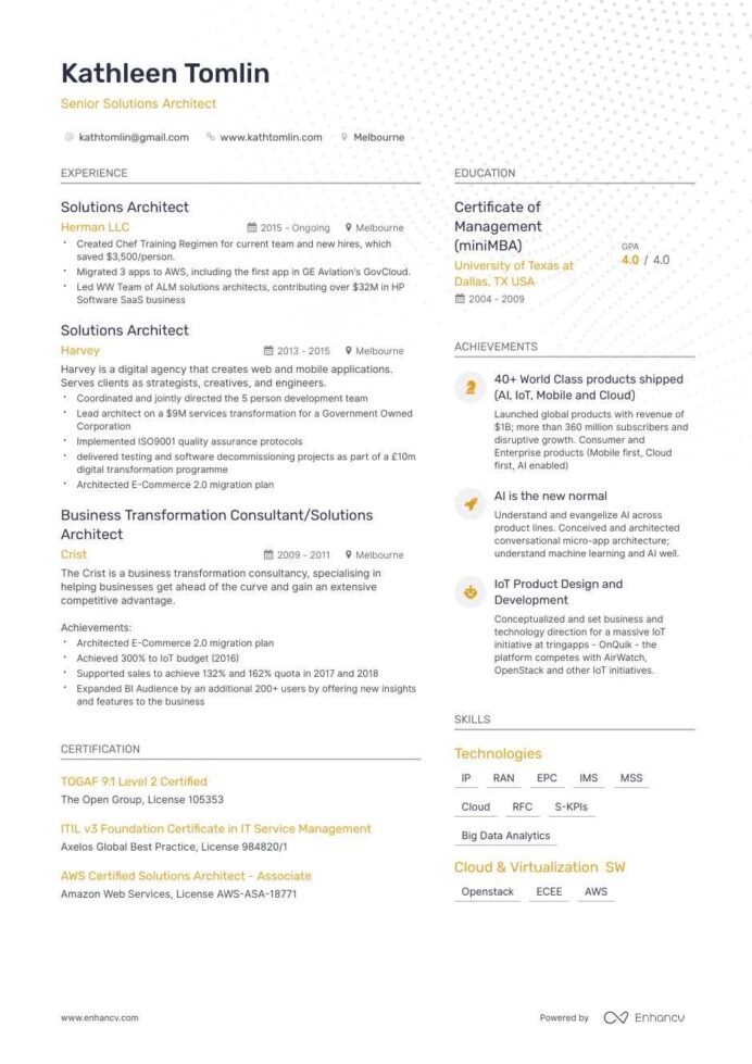 job winning solutions architect resume examples samples tips enhancv sap analytics sample Resume Sap Analytics Cloud Sample Resume