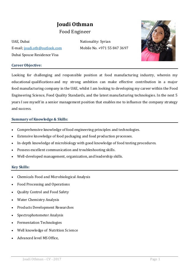 joudi othman cv food engineer resume objective for manufacturing position cover letter or Resume Resume Objective For Manufacturing Position