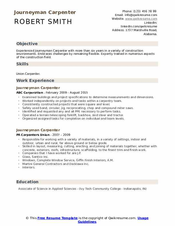 journeyman carpenter resume samples qwikresume objective pdf describing document review Resume Carpenter Objective Resume