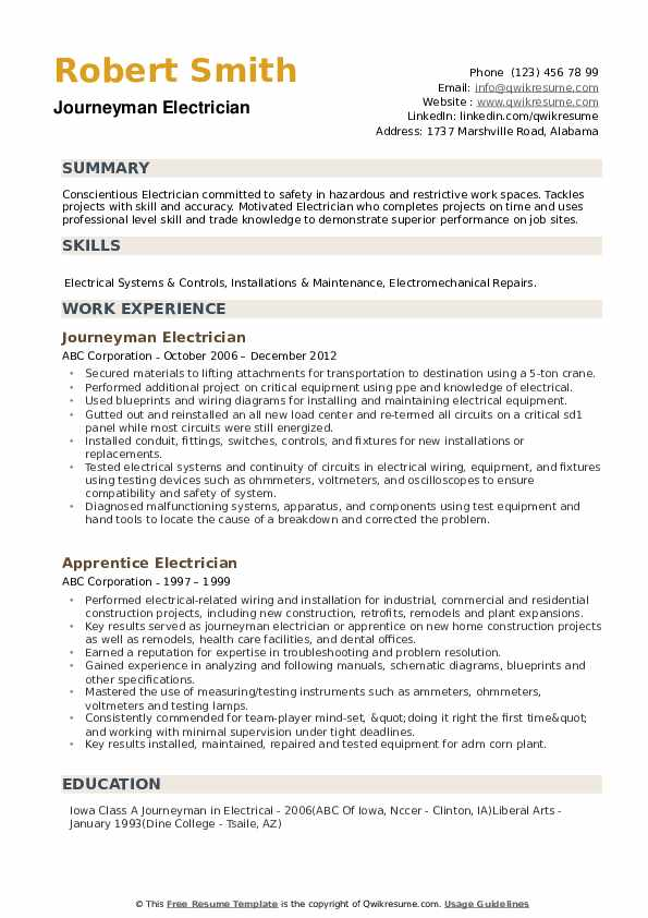 journeyman electrician resume samples qwikresume pdf footprint complaints sample for Resume Journeyman Electrician Resume
