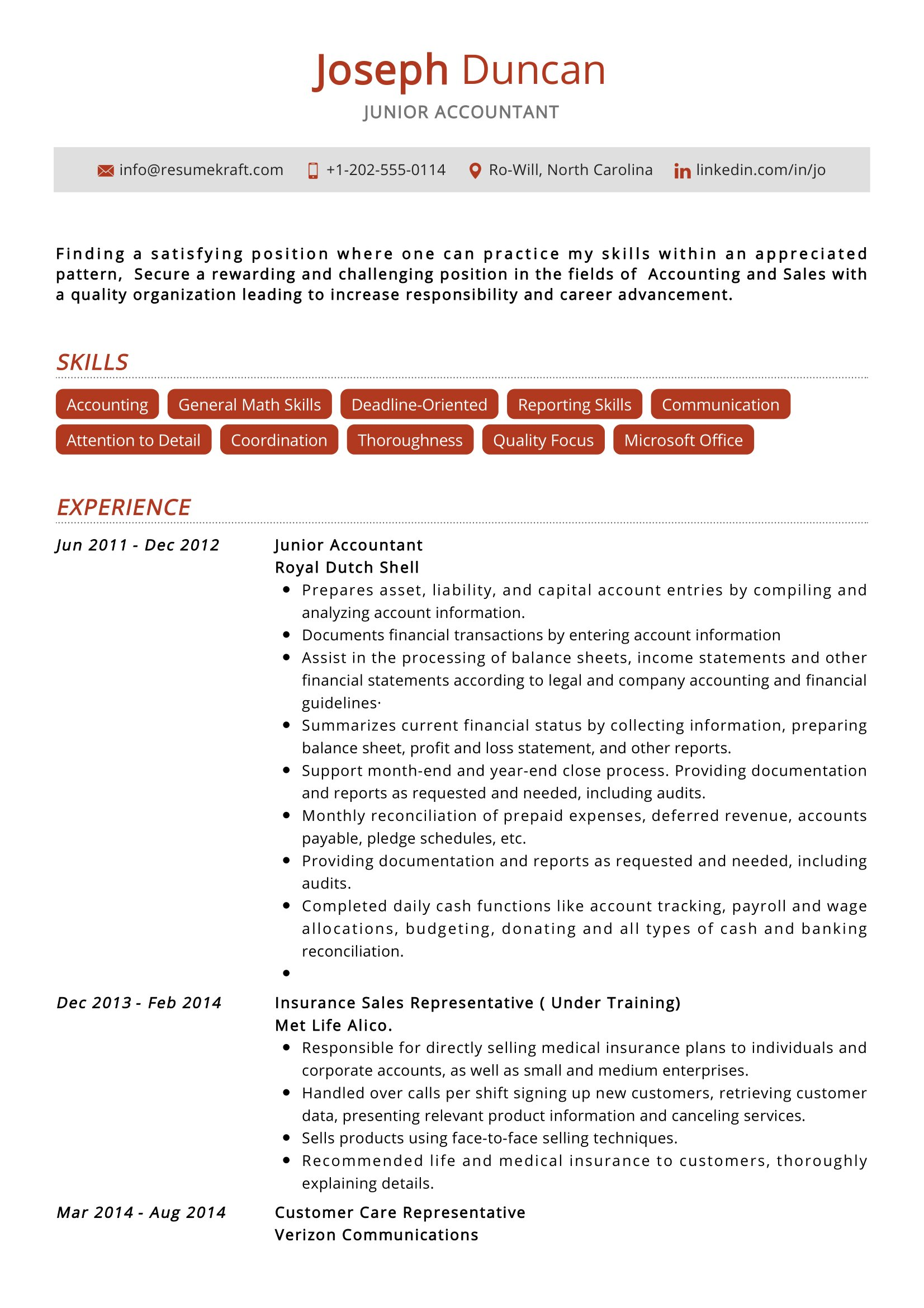 junior accountant resume sample resumekraft summary franchise owner simple two column Resume Accountant Resume Summary