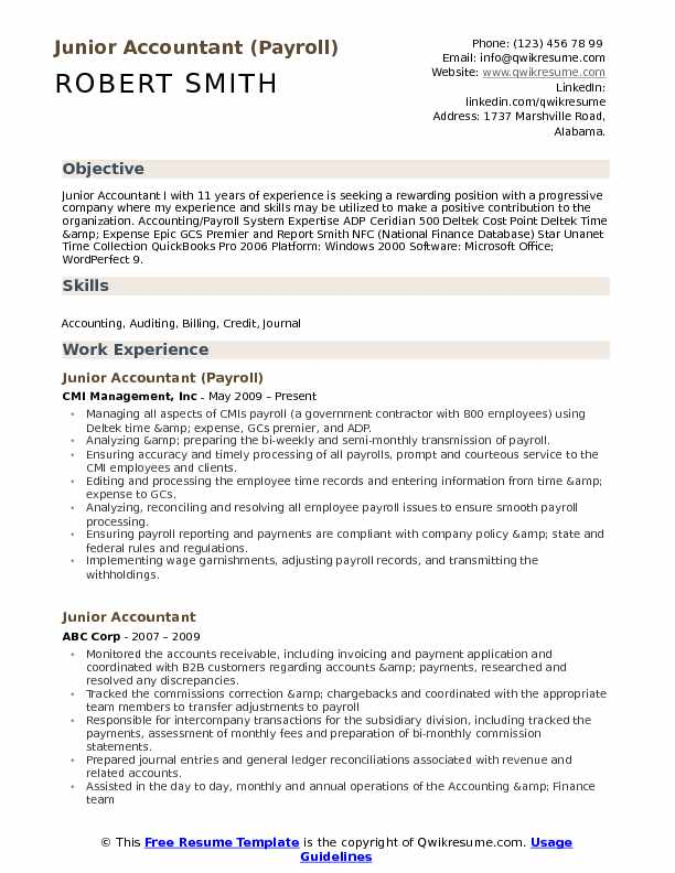 junior accountant resume samples qwikresume experience format for pdf arabic sample blank Resume Experience Resume Format For Accountant