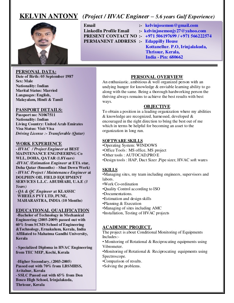 kelvin antony cv project hvac engineer with years experien resume for lva1 app6892 Resume Hvac Engineer Resume For Gulf