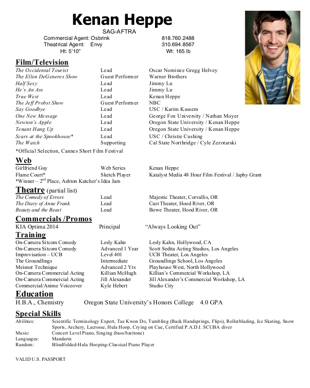 kenan heppe acting resume commercial graphic design examples entry level retail program Resume Commercial Acting Resume