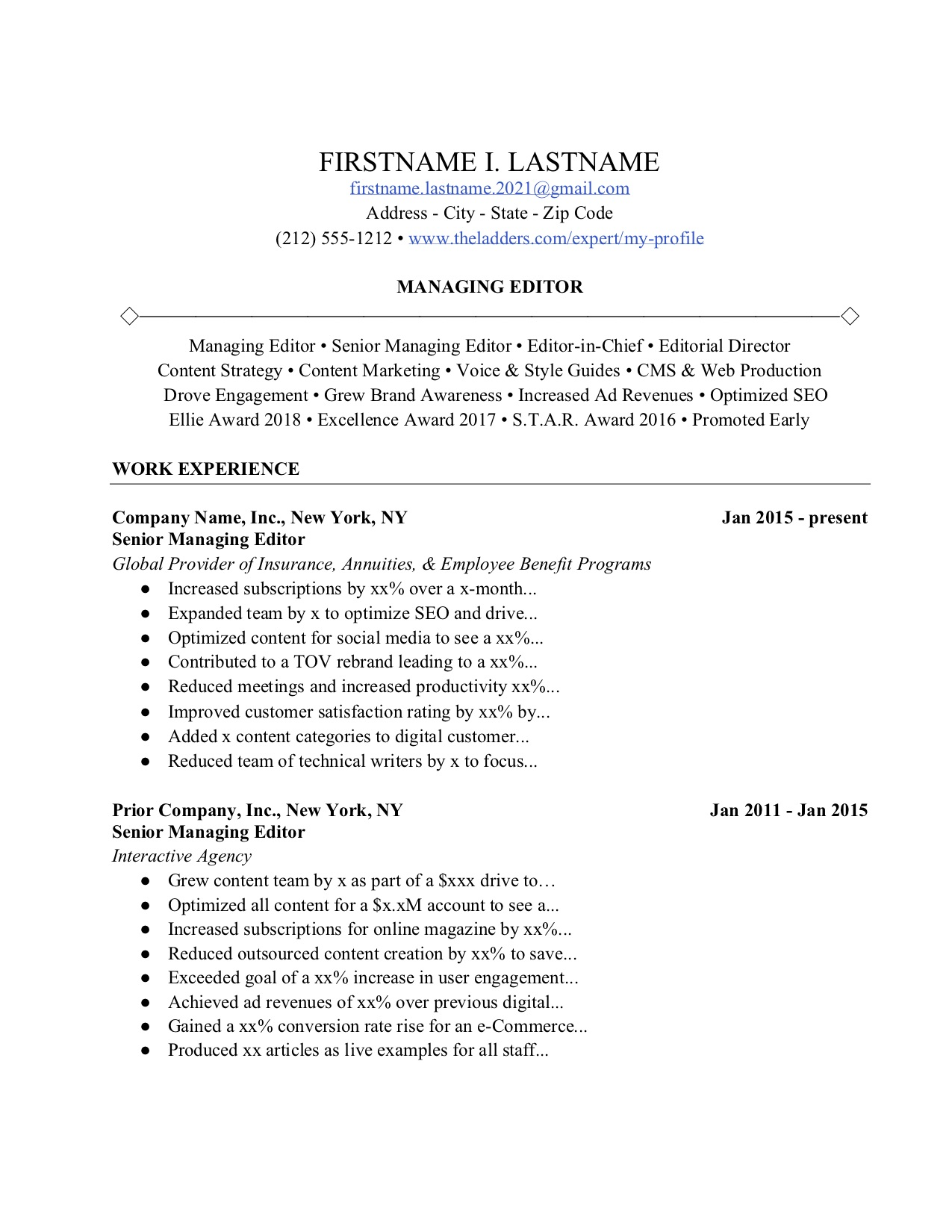 ladders resume guide professional templates human voiced example editorial content Resume Human Voiced Resume Example