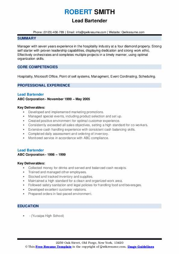 lead bartender resume samples qwikresume skills and qualities pdf law enforcement police Resume Bartender Skills And Qualities Resume