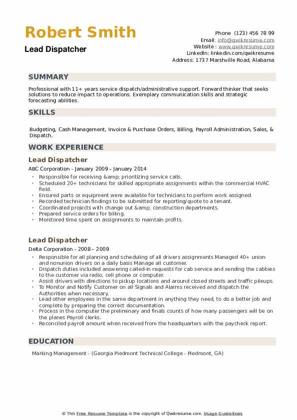 lead dispatcher resume samples qwikresume examples pdf wizard word lftp personal example Resume Dispatcher Resume Examples